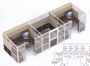 Partisi Kantor Uno 11 Series Premium 2 Staff dan Meting