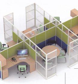 Partisi Kantor Uno 12 Series Premium 4 Staff dan meting